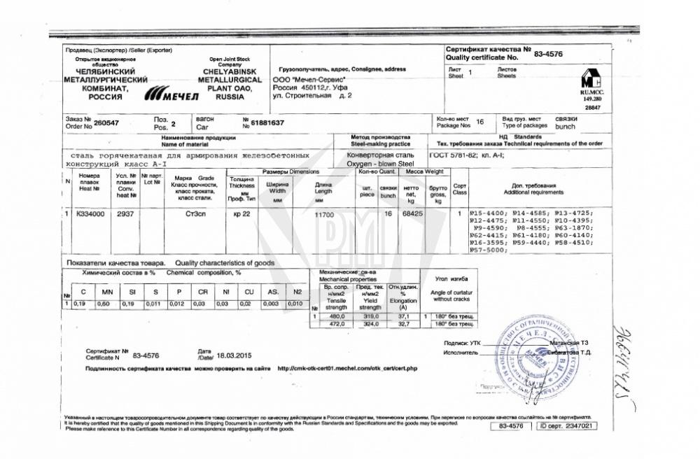 сертификат круг нержавеющий 12х18н10т того